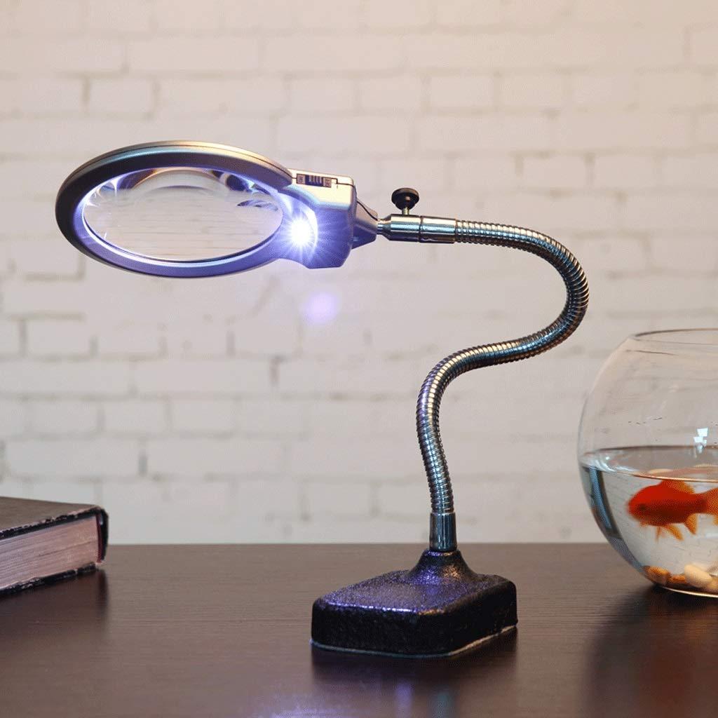 FDJ Lupa con luces LED, lente de aumento de escritorio 10X de alta ...