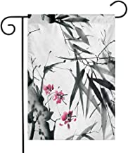 QIAOQIAOLO Stylish Garden Flag Japanese Natural Sacred Bamboo Stems Cherry Blossom Japanese Inspired Folk Print Double Suture Dark Green Fuchsia W12 xL18