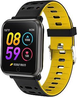 NANE Reloj Inteligente, Impermeable IP67, con Múltiples Modos de Deporte, Pulsera Inteligente, con Pulsómetro, GPS, Blood Pressure, Sueño, Podómetro, Reloj Hombre para Android y iOS,Amarillo