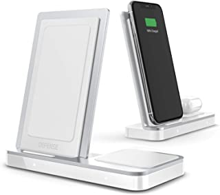 Defense Vertical Duo Charger, Wireless Qi Charging Stand, Machined Aluminum Frame, Up to 10W Fast Charging for Apple iPhone, Samsung Galaxy, Note and Other Qi Devices (White)