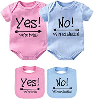 YSCULBUTOL Baby Bodysuits Yes We are Twins No We are Identical Twins Bodysuit Boys Girls Twins Clothes Short Sleeve