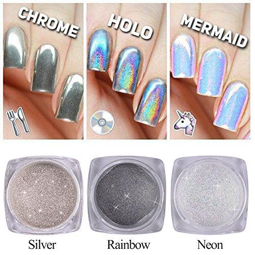 3 Bouteille Poudre Ongle Glitter Poussière Licorne Néon Holo Argent Sparkly Chrome Pigment Nail Art Paillettes Mode DIY