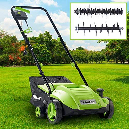 BRAST Elektro Vertikutierer Rasenlüfter 1500 Watt 32cm Arbeitsbreite 35L Fangkorb 2in1 Kombi Gerät Lüfter Moosentferner