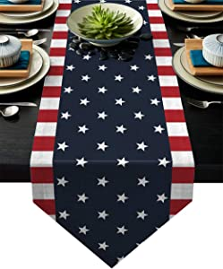 Z&L Home Linen Burlap Table Runner Dresser Scarves, Independence Day 4th of July Table Runners for Dinner Holiday Party, Wedding, Events, Kitchen Decor Patriotic American Flag 13x70Inch