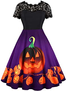 iLOOSKR Women Halloween Vintage Pleated Dress Lase Short Sleeve Evening Party Prom Dress