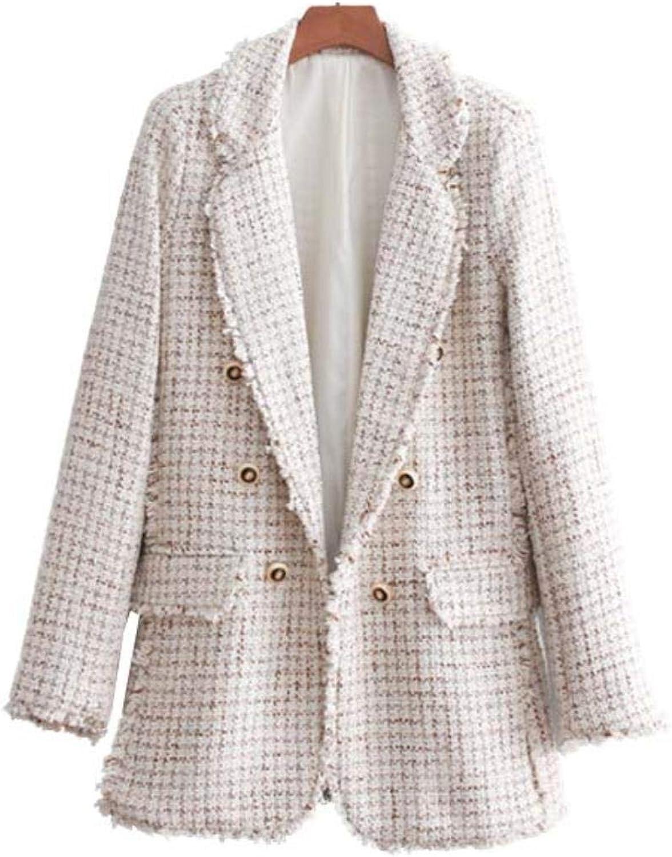 WkvAoHvk Women Tweed Plaid Tassel Long Sleeve Coat Office Loose Blazer