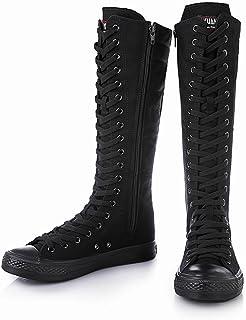 [Cnstone] レディース ロング スニーカーブーツ ダンスブーツ 黒 白 サイドジップ 編み上げ ダンスシューズ チーム衣装 コスチューム コスプレ靴