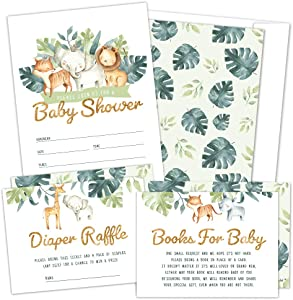 Set of 25 Safari Baby Shower Invitations, Diaper Raffle Tickets, Baby Shower Book Request Cards with Envelopes   Greenery Jungle Animal Invites for Gender Reveal Party, Boys and Girls (25)