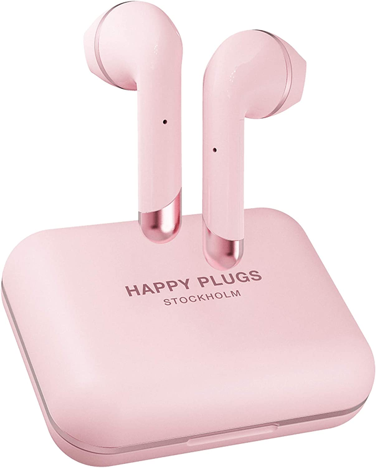 Happy Plugs Air 1 Plus High-end Earbuds   True Wireless Bluetooth Headphones with Charging Case and Microphones   Up to 40 Hours Playtime   iOS/Android/Zoom/Pc/Mac Compatible, Pink Gold