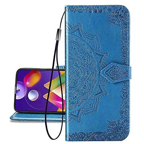 COTDINFOR Etui für Motorola Moto G8 Plus Hülle, PU Leder Cover Schutzhülle Magnet Tasche Flip Handytasche im Bookstyle Kartenfächer Lederhülle für Motorola Moto G8+ Plus Half Mandala Blue SD