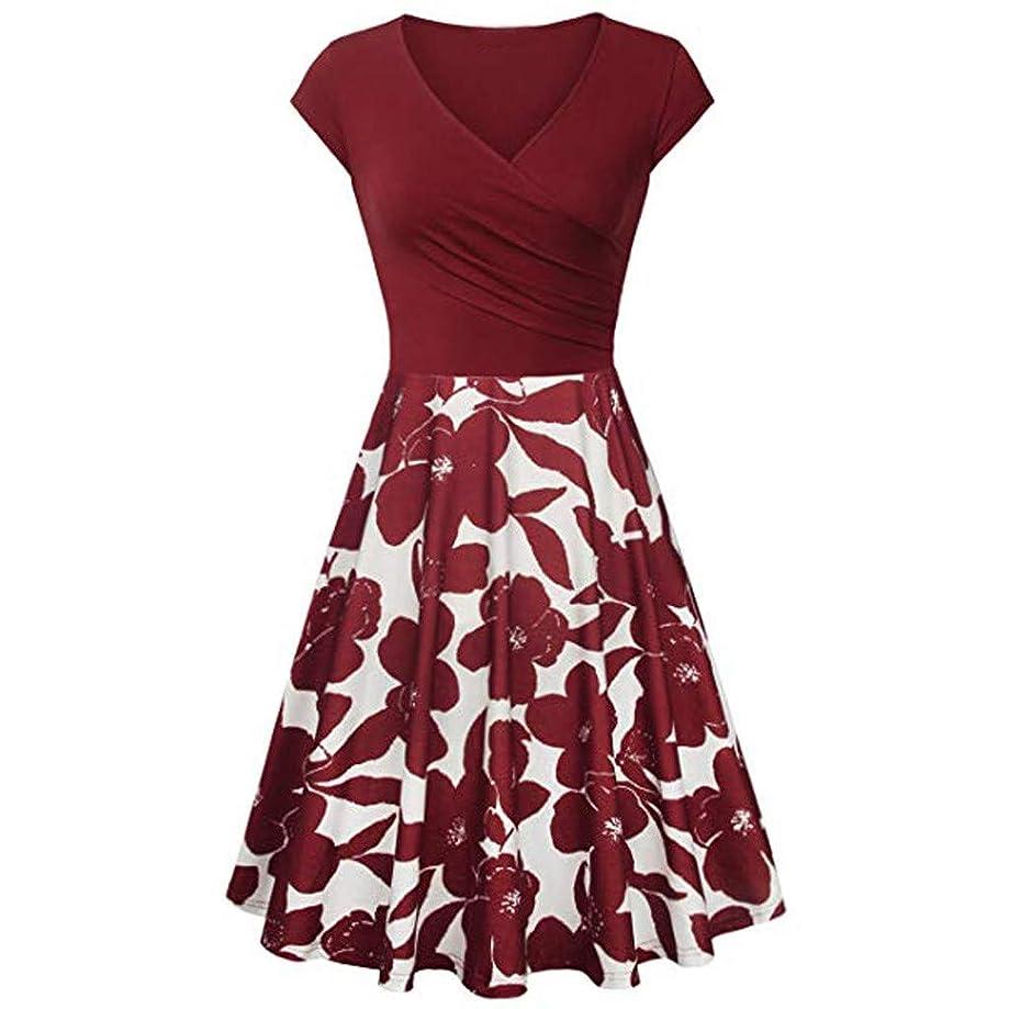 ANJUNIE Women's Short Sleeve Cross V- Neck Floral Dresses Vintage Elegant Flared A-Line Dress