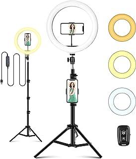 ITSHINY LED-ringlampa med stativstativ och telefonhållare, 25,4 cm selfieljusring för makeup Live Stream videofotografi, U...