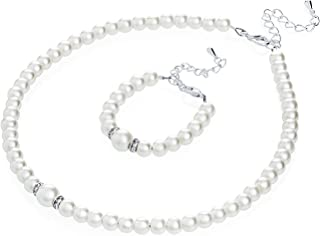 Elegant Cream Simulated Pearl Toddler Girl Necklace and Bracelet Stylish Gift Set (GS-P-C-All)