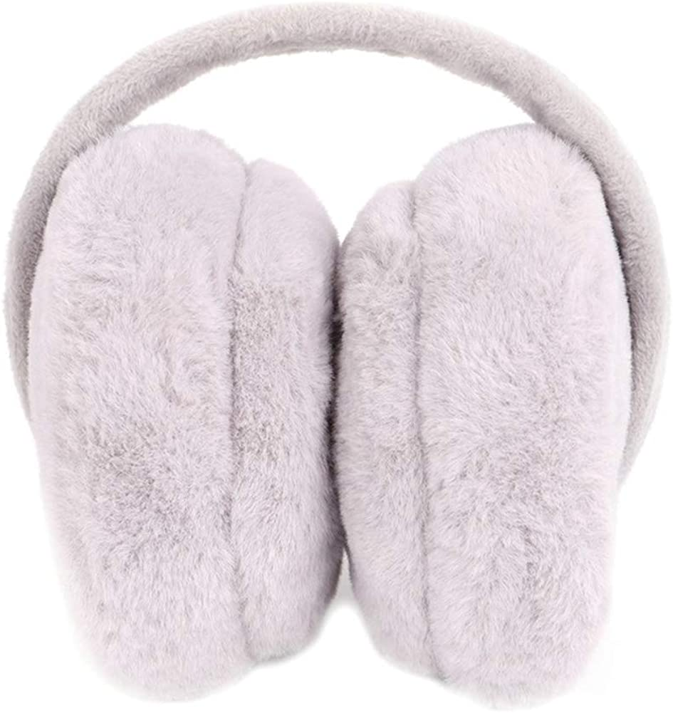 Noblik Warm Earmuffs Portable Foldable Hamburger Earmuffs Outdoor Boys and Girls Plush Warm Earmuffs Gray