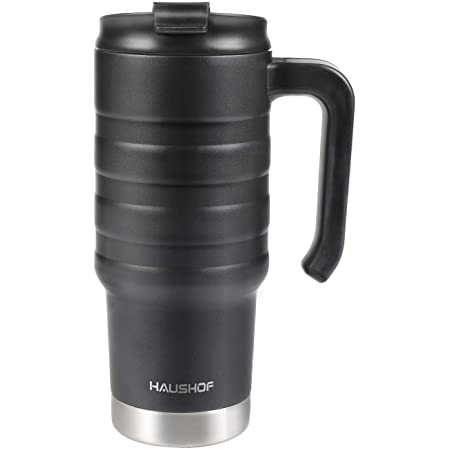 HAUSHOF 24 oz Travel Mug, Stainless Double Wall Vacuum Insulated Tumbler with Handle & Spill Proof Twist On Flip Lid and Wide Mouth, BPA Free