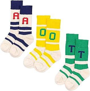 Spinas(スピナス)ベビー キッズ 靴下 アルファベット デザイン ハイソックス 3色セット(ホワイト×ネイビー グリーン イエロー)