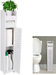 Gotega Small Bathroom Storage Toilet Paper Storage Corner Floor Cabinet with Doors and Shelves Bathroom Organizer Furnitur...