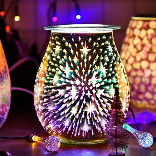 Euch1X Glass Electric Oil Burner Wax Melting Fragrant 3D Stars Aromatherapy Light Night Light Decoration, Used for Home Office Bedroom Living Room Gifts (3D Stars)
