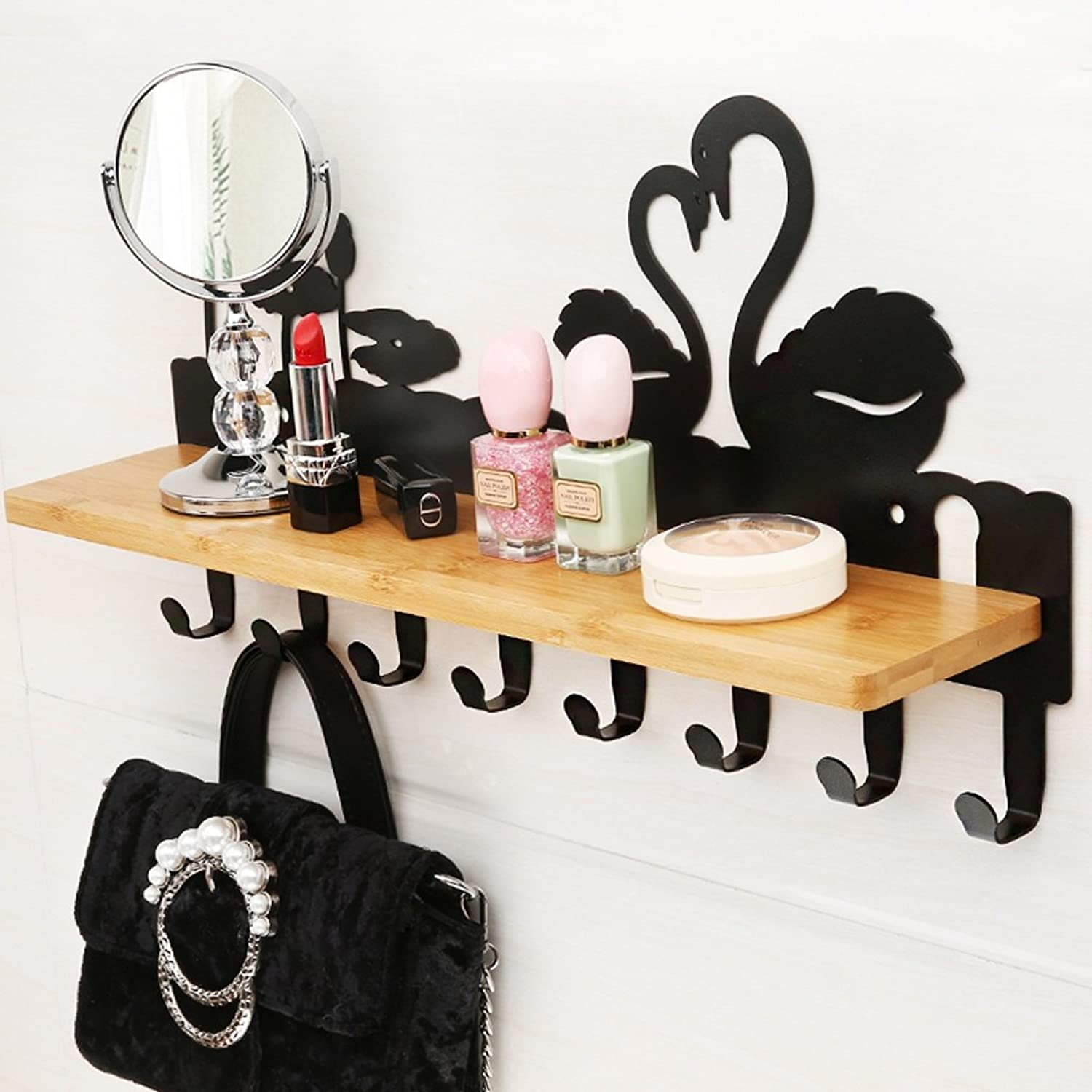 TIANTA- Wall-Mounted Coat Rack Free Punch Shelves Iron Porch Frame Personality Creative Linked (44  9.5  11.5CM) Home Furnishing