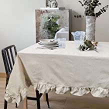 VIMOO Ruffle Trim Tablecloth Cotton Linen Vintage Flounces Washable Table Cover, Kitchen Wedding Restaurant Party Picnic Use (Natural Linen, Rectangle-52x70 inch)