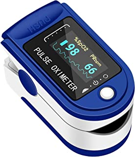 Pulse Oximeter Fingertip, ATMOKO Oximeter Finger Blood Oxygen Saturation Monitor SpO2 Level Heart Rate Monitor, OLED Digital Display and 4 Rotatable Readings
