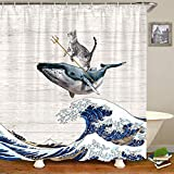 CICIDI Funny Cat Duschvorhang Katze reitet auf Wal im Ozean Wave Badezimmer Vorhang Japanische Die große Welle Off Kanagawa Stoff Duschvorhänge mit Haken 183 x 183 cm