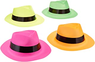 Adorox 12 Neon Fedora Party Favors Plastic Gangster Hats, Assorted