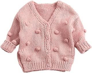 Wennikids Baby Girls Sweaters Round Pullover Striped Rainbow Todler Warm Sweatshirt Tops