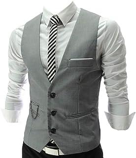 MU2M Men Business Slim Sleeveless V-Neck Dress Suit Vest Waistcoat