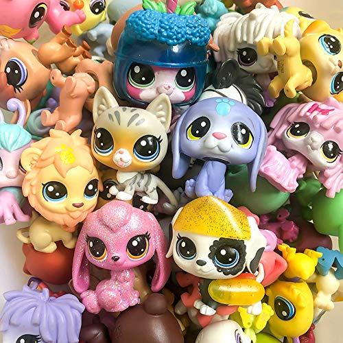 Animal Pet shop aleatorio raro Littlest Pet Shop Juguetes Colección Figura Collie Perro Gato Ardilla Animales Cute Kid Toys Figura Regalo 3 piezas diferentes