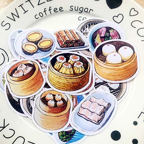 KATTERS Guangzhou poranna herbata dim sum naklejka kantoński śniadanie bułki ręczne konto naklejka ręcznie malowana jajko tarta wiosenne rolki jedzenie ilustracja 32 sztuki