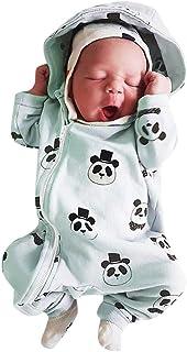 Covermason Babykleidung Neugeborene Strampler, Säuglingsbaby Mädchen Junge Strampler mit Kapuze Overall Karikatur Panda Jumpsuit mit Reißverschluss