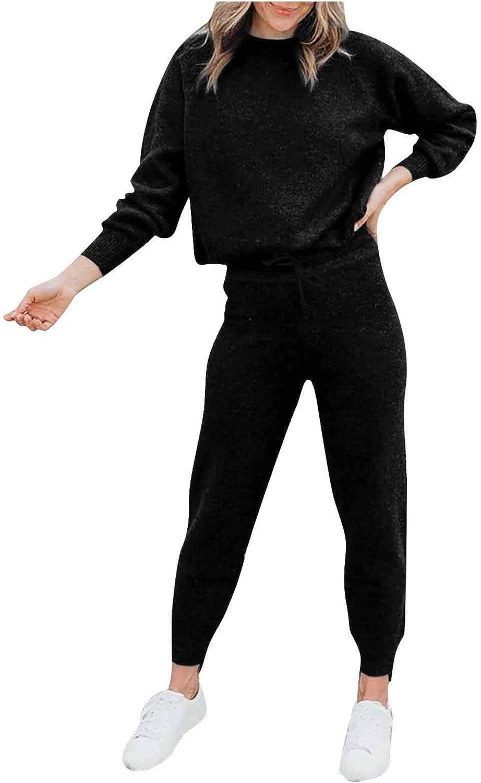 MEDRESPIRIA Sleepwear for Women Plus Size,Solid Color Sweatsuit Pajama 2 Piece Sets Long Sleeve Loungewear Sleepwear