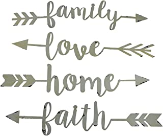 Zeckos Shabby Chic Family Love Home and Faith 4 Piece Wall Arrow Set