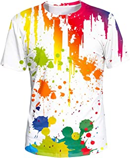 Asylvain Unisex 3D Graphic T-Shirt Colorful Design Short Sleeve Crewneck Digital Tee for Young