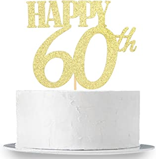 Happy 60th Cake Topper, Gold Glitter 60th Birthday Wedding Anniversary Party Cake Topper Decoration Sign