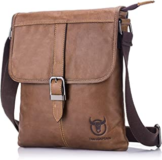 Haibeisi Fashion Unique Men's Shoulder Bag Leather Shoulder Crossbody Bag Suitable for Casual Sports Outdoor Business Flat Bag (Color : Brown, Size : M)