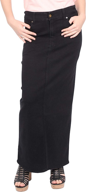 Kosher Casual Women's Modest Long Straight Stretch Denim Skirt with Covered Back Slit