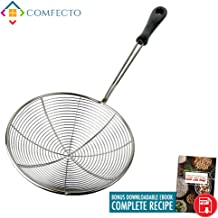 Stainless Steel Spider Strainer, 6.3 Inch Asian Wire Skimmer Ladle for Cooking Frying Food Pasta Spaghetti Noodle Hot Pot, Stay Cool Handle with Hook for Easy Storage, Food Recipe Ebook Included