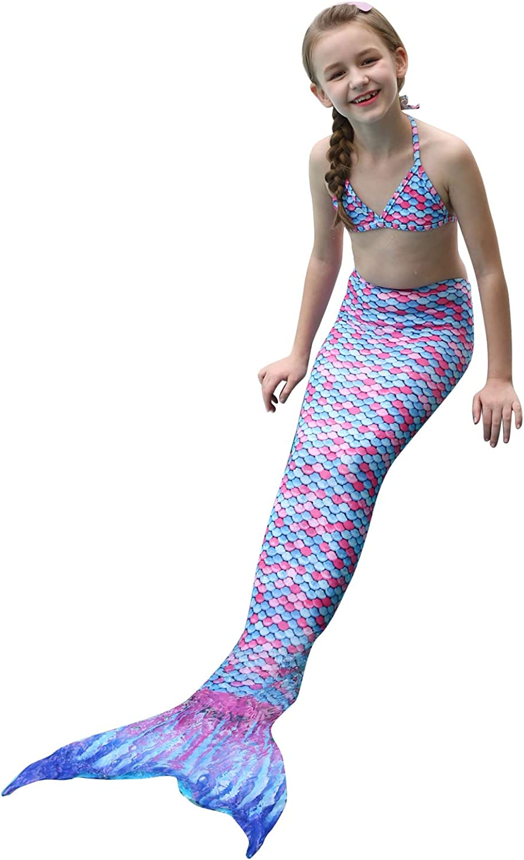 DUSISHIDAN Schwimmen Kost/üm M/ädchen Meerjungfrauenschwanz zum Schwimmen Badeanzug Bikini 3 St/ücke