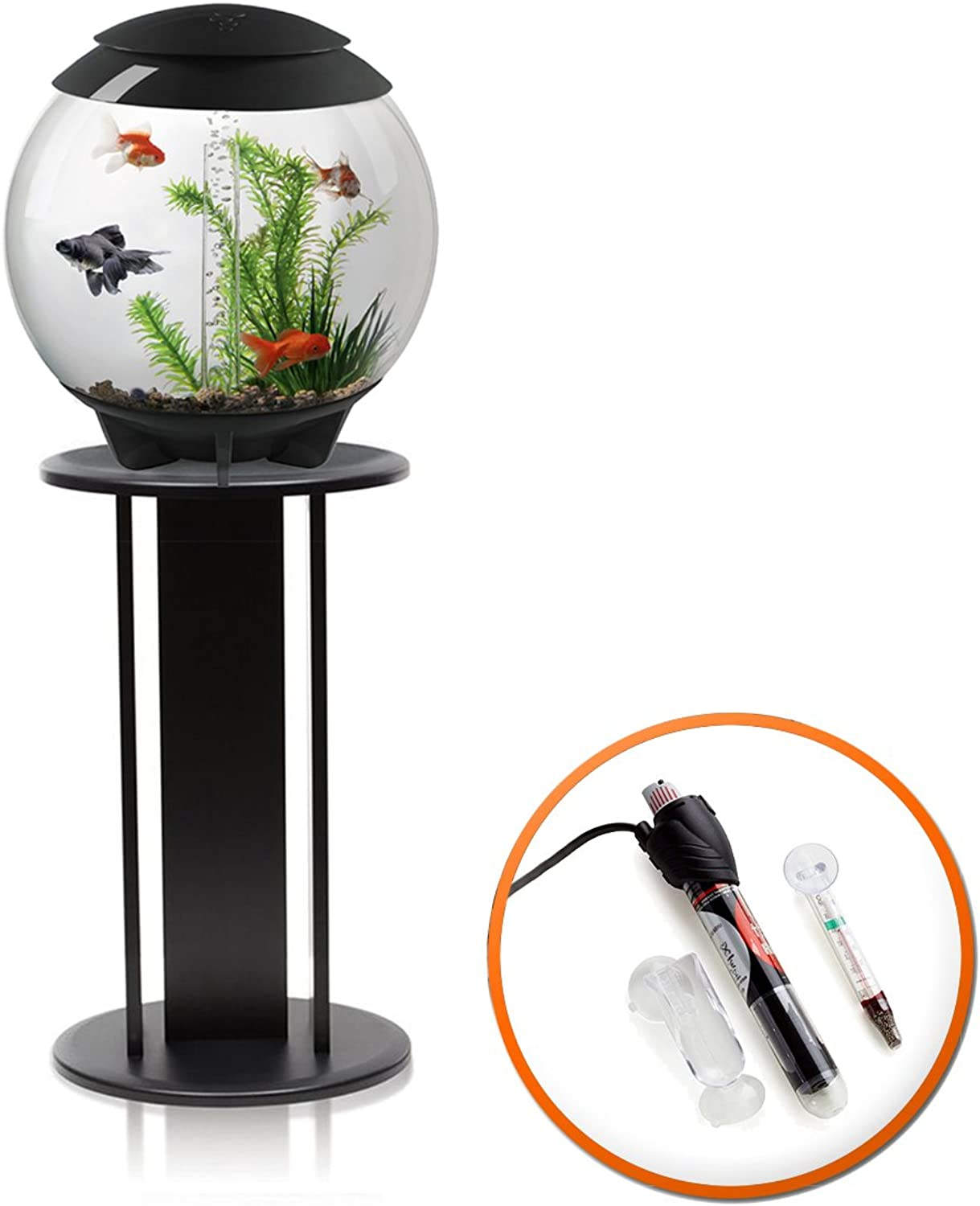 BiOrb Halo 30L Aquarium in Grey with Moonlight LED Lighting, Heater Pack and Black Stand