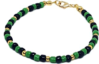 18kt Brazilian Gold Layered Ogun Santero Bracelet with Green and Black 4mm Beads. 8-1/2