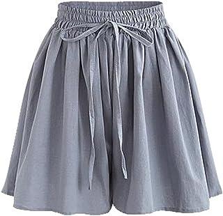 Women's Summer High Elastic Waist Drawstring Wide Leg Chiffon Culottes Shorts