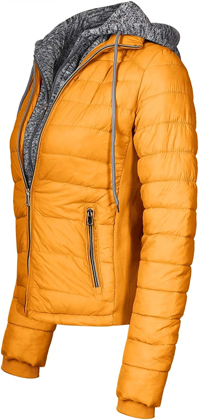 2LUV Womens Hooded Utility Lightweight Jacket with Zipper and Flannel Lining