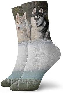 tyui7, Perro de trineo Husky siberiano Calcetines de compresión antideslizantes Malamute de Alaska Cosy Athletic 30cm Crew Calcetines para hombres, mujeres, niños