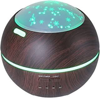 TOMNEW 150ML Aromatherapy Diffuser Ultrasonic Essential Oil Diffuser Kids Room Fragrance Mini Aroma Humidifier Wood Grain Waterless Auto Shut-Off and 7 Color LED Lights Changing for Home Baby (Black)