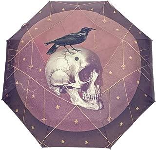 Travel Umbrella Crow Skull Auto Open Compact Folding Sun & Rain Protection Umbrella with UV Protection Windproof