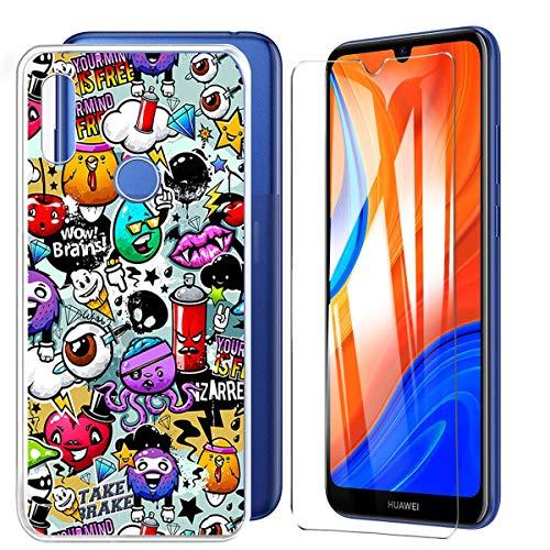 HYMY Carcasa para Huawei Y6S 2020 Luminous funda + cristal templado – Adorable suave silicona TPU Case protectora para Huawei Y6 2020 (6,09 pulgadas) – XS40