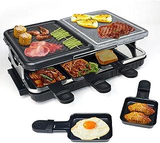 HengBo Appareil à Raclette pour 8 Personnes, Grill Raclette Multifonction avec Pierre Naturelle et Plaque de Gril en Alumi...