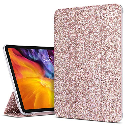 ULAK iPad Pro 11 inch 2020/2018 Case, Slim Lightweight Smart Case with Auto Wake & Sleep Function Translucent Stand Cover Case for Apple iPad Pro 11'' 2020/2018 - Pink Glitter